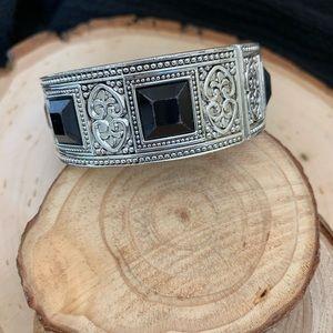 Silver and black onyx like stone cuff bracelet